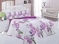 Постельное бельё двуспальное ранфорс 200х220 Gokay Beril в цветами и надписями.