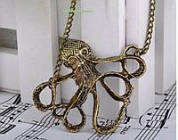 Новинка! Модное старинное ожерелье с кулоном Осьминог, винтажное колье, цвет - бронза