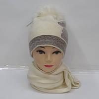Комплект из модной и теплой женской ангоровой шапки и шарфа - Код 105-32