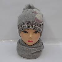 Комплект из модной и теплой женской ангоровой шапки и шарфа - Код 105-33