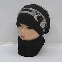 Комплект из модной и теплой женской ангоровой шапки и шарфа - Код 105-36