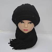 Черная женская зимняя шапка с шарфом