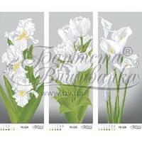 ТК-036 Триптих сіро-зелені іриси, тюльпани, кали. Схема для вишивки бісером