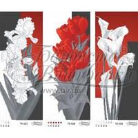 ТК-037 Триптих червоно-сірі іриси, тюльпани, кали. Схема для вишивки бісером