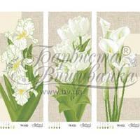 ТК-038 Триптих зелені іриси, тюльпани, кали. Схема для вишивки бісером