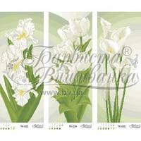 ТК-039 Триптих бежево-зелені іриси, тюльпани, кали. Схема для вишивки бісером