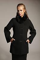 Зимнее женское кашемировое пальто Z-37 с натуральным воротником из меха песца.