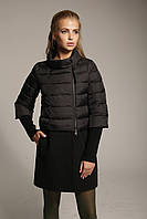 Женский комбинированный пуховик-пальто К-4 из плащевки лаке масло и кашемира.