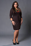 Модное батальное женское трикотажное платье с модной вышевкой