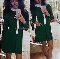 Женское стильное платье с белым воротником (3 цвета)