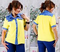 Элегантная рубашка с отделкой из джинса  (большие размеры) код 119 Б
