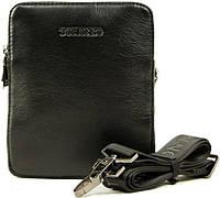 Вертикальная мужская кожаная сумка-борсетка на ремне Tofionno 9199-4 черная