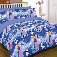 Детское постельное белье 12125  Эльза и Анна Frozen Холодное сердце полуторное хлопок голубое