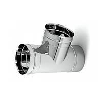 Тройник 87° из нержавеющей стали (0.8 мм) для одностенного дымохода