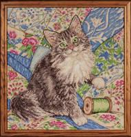 """Набор для вышивки крестом """"Кот на стеганном одеяле"""" (Cat on Quilt)"""