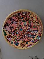 """Глиняна тарілка ручної роботи """"Кіт-муркіт"""" (авторська робота, ручний розпис))"""