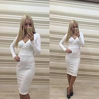 Женское стильное платье с открытым декольте (3 цвета)
