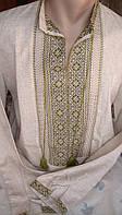 Чоловіча вишита сорочка ручної роботи з зеленим орнаментом і мережками (Мужская вышитая рубашка ручной работы