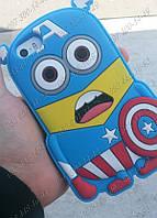 Силиконовый чехол Миньон Капитан Америка для Iphone 4/4s Прикольные чехлы на телефон Идеи для айфона