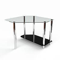 Угловой стеклянный стол модель Каспиан