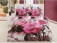 Полуторное постельное белье 3D Arya сатин 70х70 Lessie с розами.