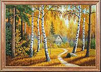 """Рисунок на ткани для вышивания бисером """"Домик в лесу"""""""