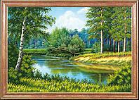 """Рисунок на ткани для вышивания бисером """"Лето в лесу"""""""
