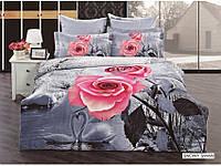 Полуторное постельное белье 3D Arya сатин 70х70  Snowy Sawan с розой на снегу.