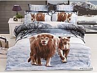 Полуторное постельное белье 3D Arya сатин 70х70  Wınter Lions со львом и львицей.