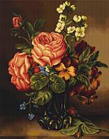G491 Ваза с розами и цветами. Набор для вышивания (гобеленовый стежок)
