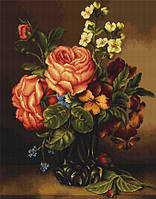 B491 Ваза с розами и цветами. Набор для вышивания крестом