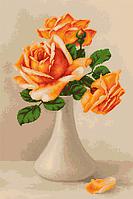 G505 Оранжевые розы в вазе. Набор для вышивания (гобеленовый стежок)