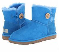 Зимние женские сапоги угги Оригинал UGG Classic Mini голубые
