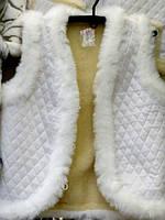 Тёплый белый жилет из овчиной шерсти
