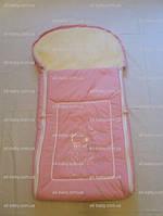 """Меховой конверт в коляску и санки """"Мишка со стразам"""" розовый"""