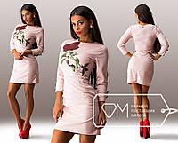 Короткие платье с розой и длинным рукавом