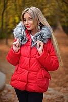 Модная женская куртка пуховик с капюшоном на меху