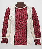 Женская блузка вязаная на льне