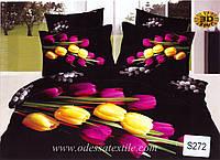 Комплект постельного белья  ELWAY сатин 3D 272