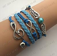 Голубой Браслет на руку Снитч + Скрипичный ключ из Гарри Поттер Красивое плетение на руку