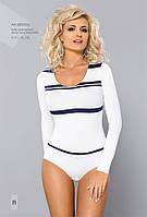 Женская блуза-боди белого цвета с синими полосками . Модель BDV 053 Gaia, коллекция осень-зима 2015-2016