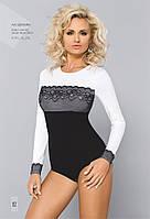 Женская блуза-боди черно/белого цвета с длинным рукавом. Модель BDV 049 Gaia, коллекция осень-зима 2015-2016.