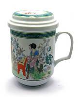 Чашка чайная заварочная с ситом Цветы