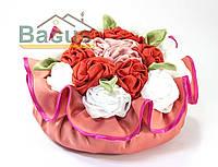 Подушка декоративная тканевая 30 см ручная работа ПД-002
