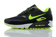 Кроссовки оригинальные мужские Nike Air Max 90 Hyperfuse черные с зеленой лейбой