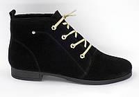 Женские демисезонные замшевые ботинки на венском маленьком каблучке
