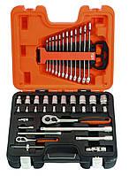 Набор торцевых головок и комбинированных гаечных ключей 1/2 и 1/4, набор 41 предмет, BAHCO S410