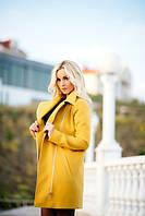 Женское жёлтое кашемировое пальто на молнии до середины бедра