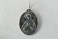 Подвеска из серебра - иконка Богородица Семистрельная