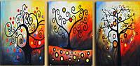 """Раскраска по номерам BABYLON """"Триптих. Дерево счастья"""" (DZ259) 50 х 120 см"""